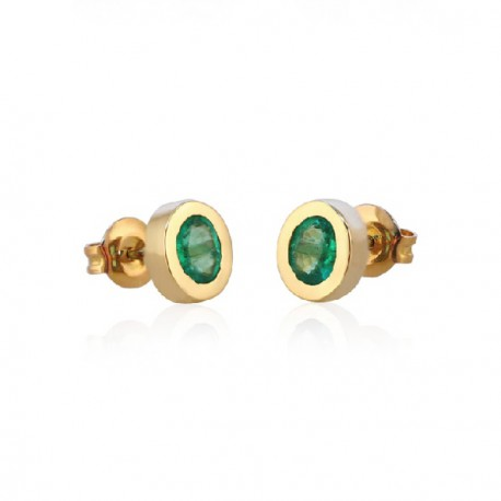 Emerald yellow gold earrings