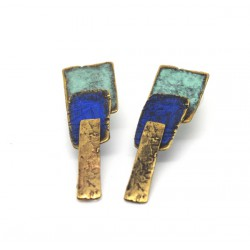 Bronze and pigment earrings