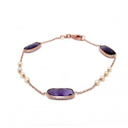 Rose gold, pearl and amethyst bracelet