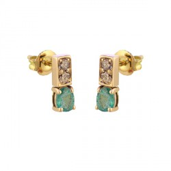 Yellow gold emerald diamond earrings