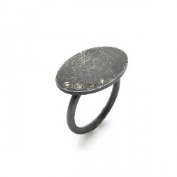 Silver brown diamond ring