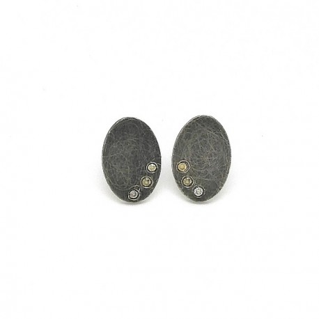 Silver brown diamond earrings