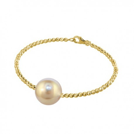 Yellow gold pearl bracelet