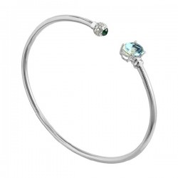 White gold aquamarine diamond bracelet