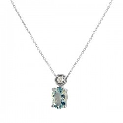 White gold aquamarine diamond pendant