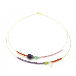 Colored gemstones gold necklace