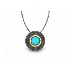 Silver gold turquoise necklace