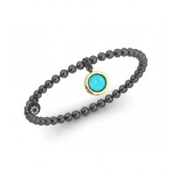 Silver gold turquoise bracelet