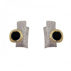 Silver gold black lava earrings