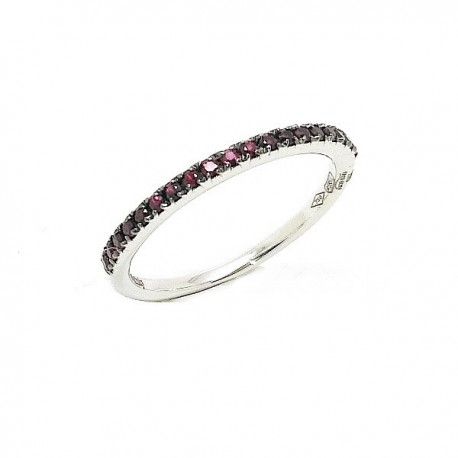 White gold ruby half band ring