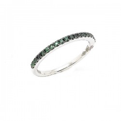 White gold emerald half band ring