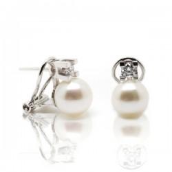 Whtie Gold pearl diamond earrings