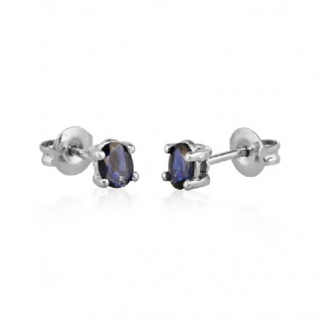Blue Sapphire white gold earrings